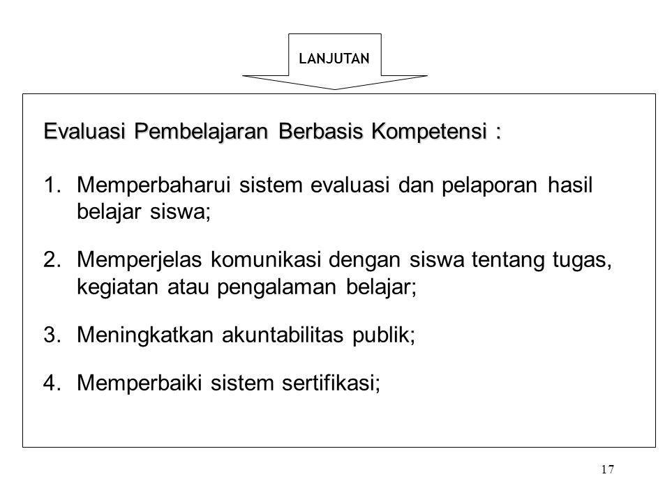 Evaluasi Pembelajaran Berbasis Kompetensi :