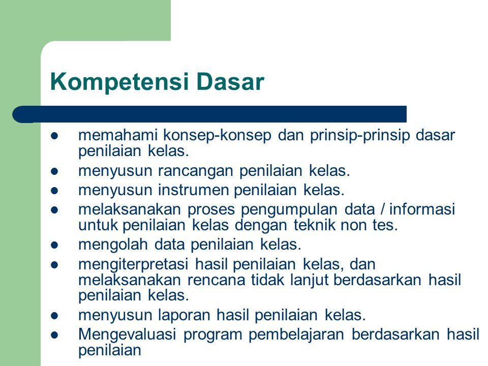 Kompetensi Dasar memahami konsep-konsep dan prinsip-prinsip dasar penilaian kelas. menyusun rancangan penilaian kelas.