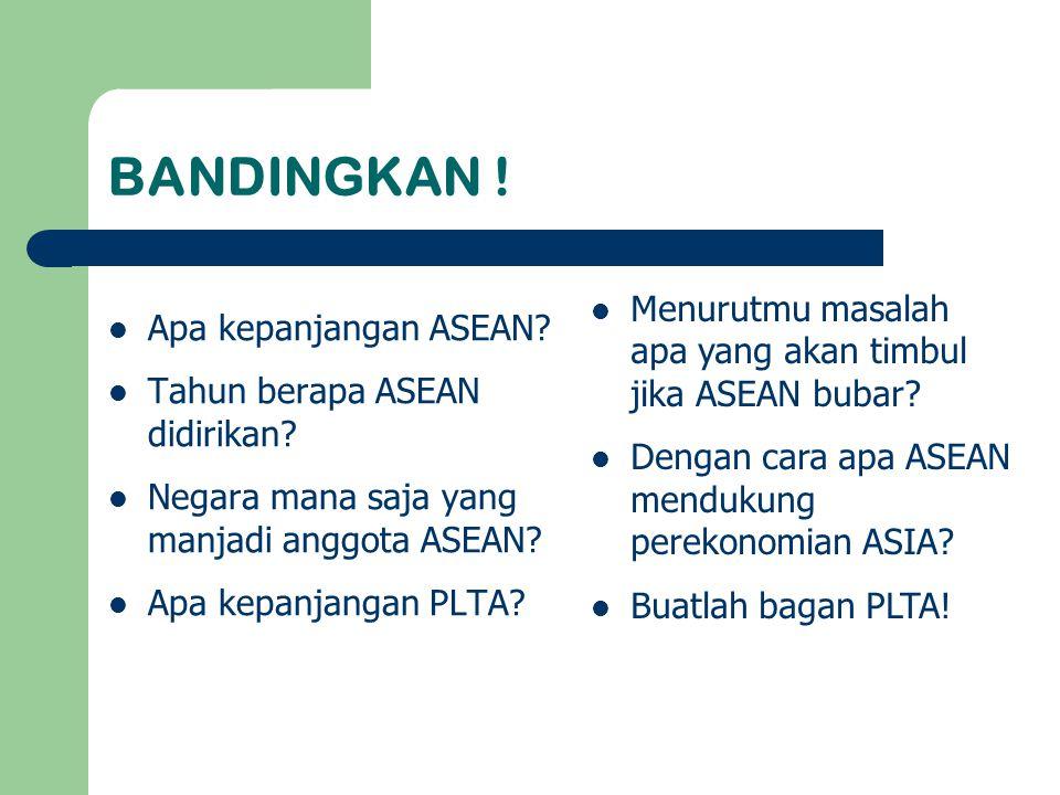 BANDINGKAN ! Menurutmu masalah apa yang akan timbul jika ASEAN bubar
