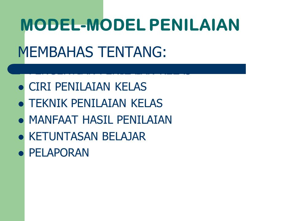 MODEL-MODEL PENILAIAN