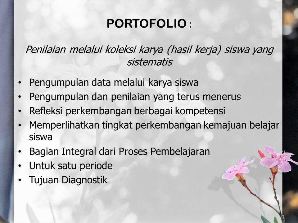 PORTOFOLIO : Penilaian melalui koleksi karya (hasil kerja) siswa yang sistematis