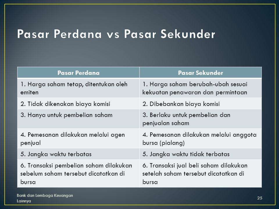 Pasar Perdana vs Pasar Sekunder