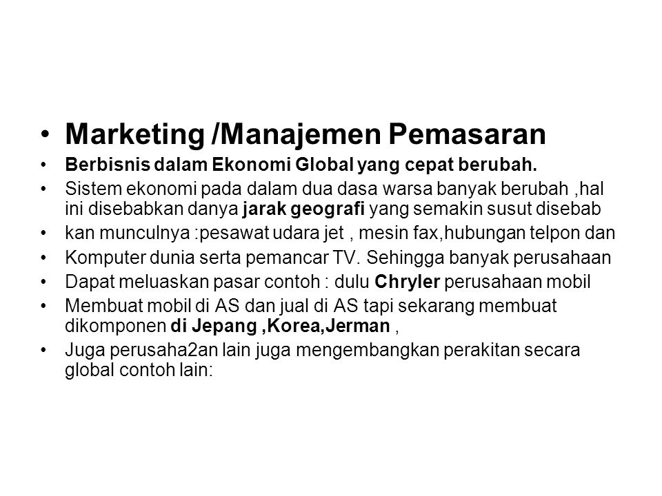 Marketing /Manajemen Pemasaran