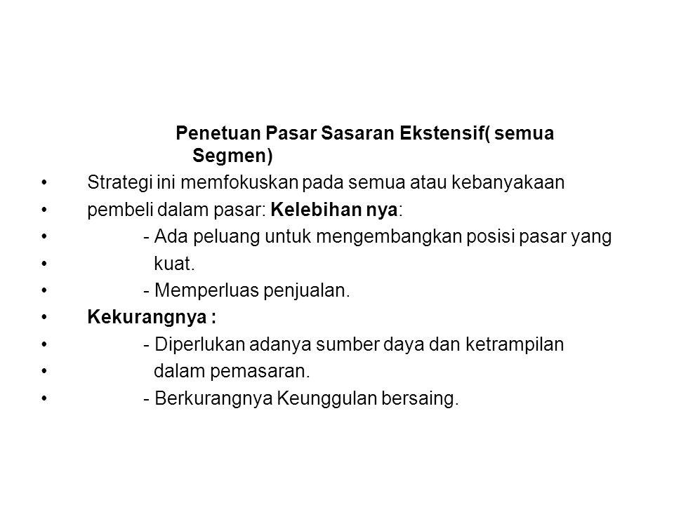 Penetuan Pasar Sasaran Ekstensif( semua Segmen)