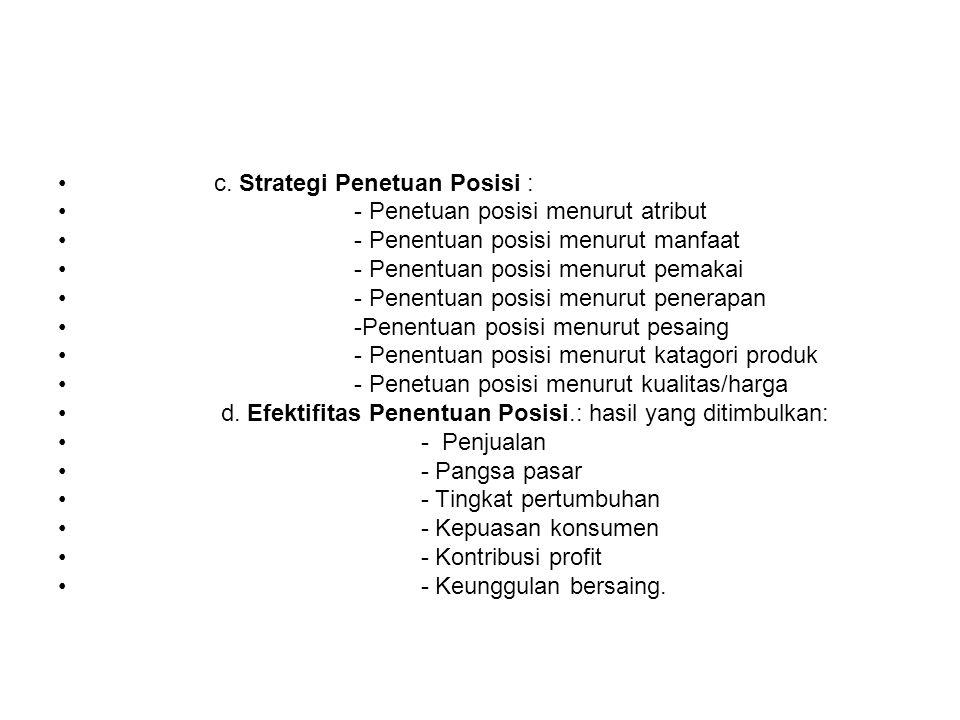 c. Strategi Penetuan Posisi :