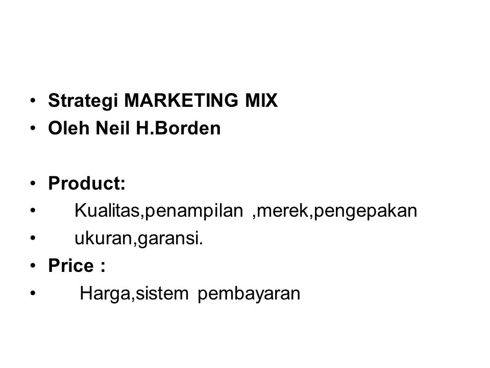 Strategi MARKETING MIX
