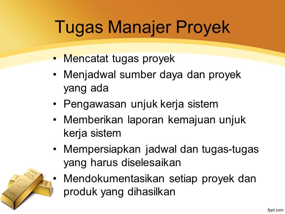 Tugas Manajer Proyek Mencatat tugas proyek