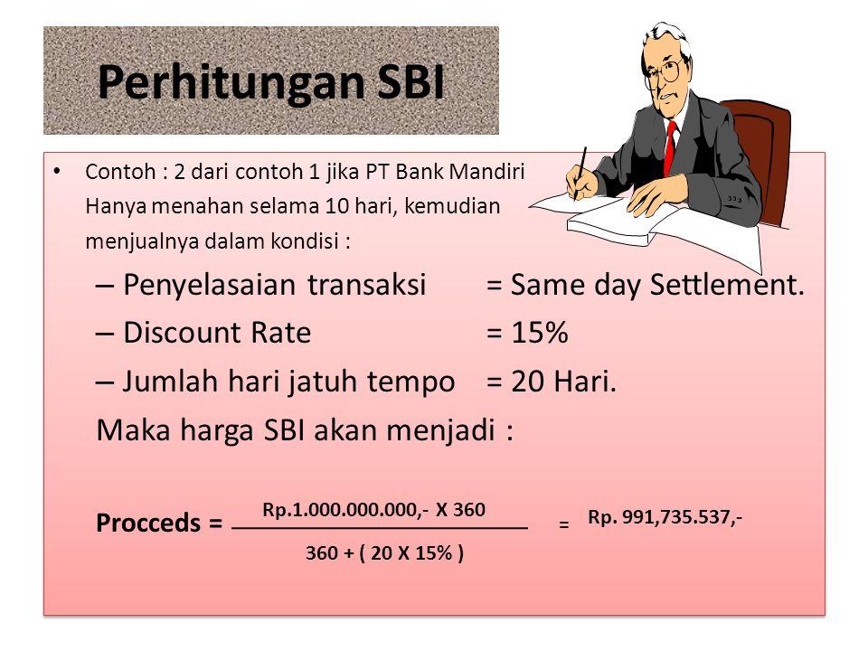 Perhitungan SBI Penyelasaian transaksi = Same day Settlement.