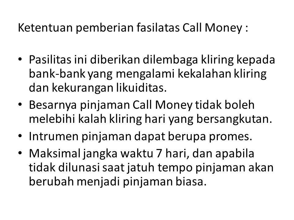 Ketentuan pemberian fasilatas Call Money :