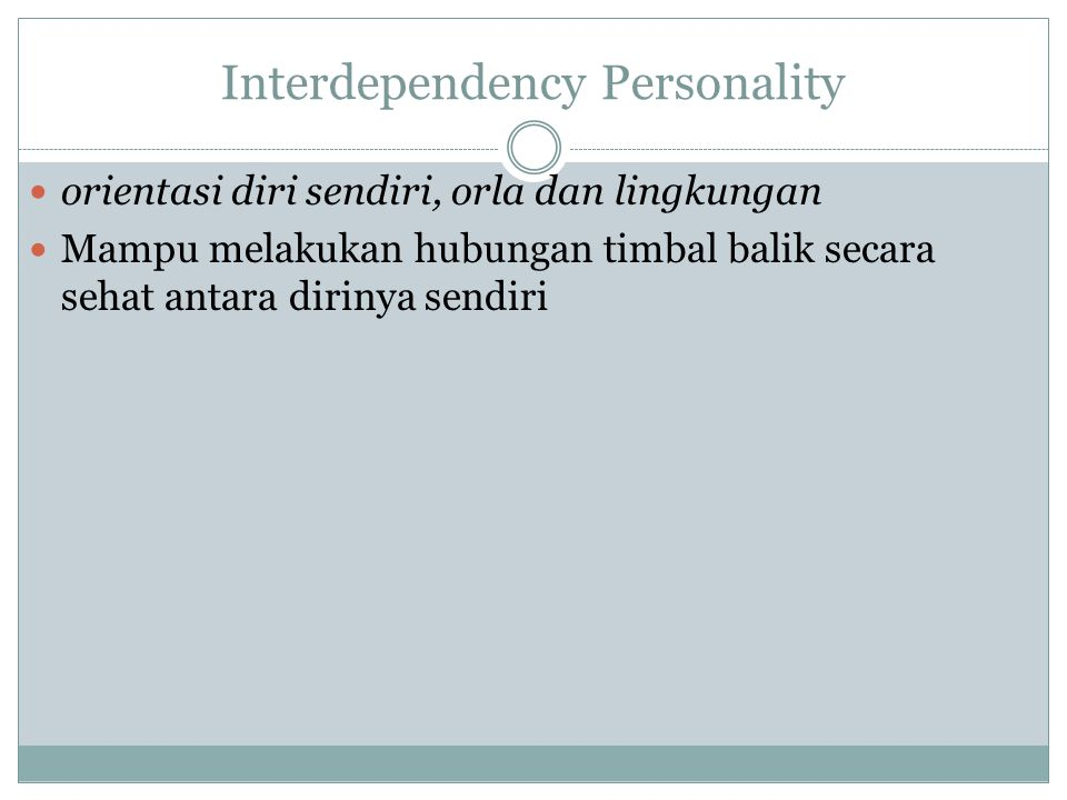 Interdependency Personality