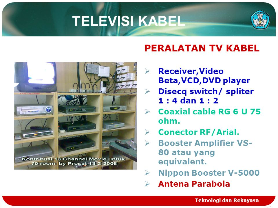 TELEVISI KABEL PERALATAN TV KABEL Receiver,Video Beta,VCD,DVD player