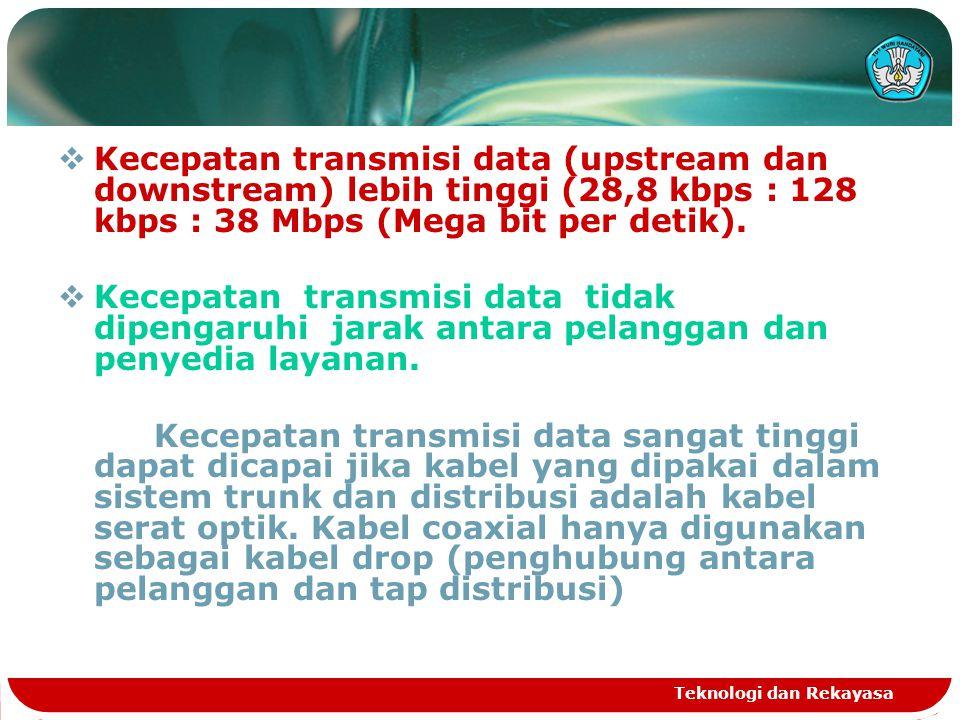 Kecepatan transmisi data (upstream dan downstream) lebih tinggi (28,8 kbps : 128 kbps : 38 Mbps (Mega bit per detik).