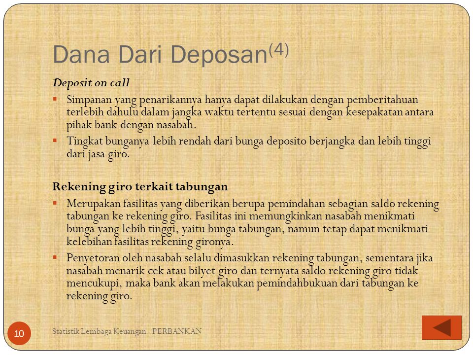 Dana Dari Deposan(4) Deposit on call