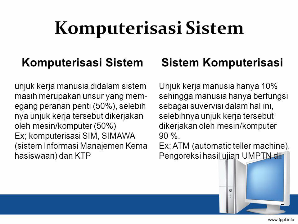 Komputerisasi Sistem Komputerisasi Sistem Sistem Komputerisasi