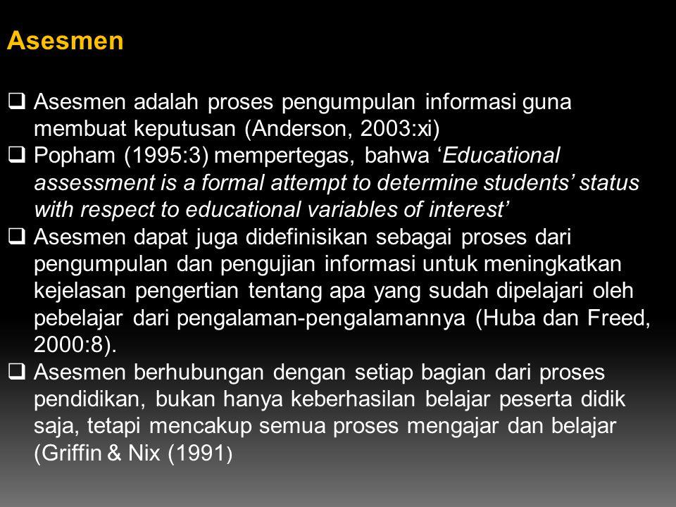 Asesmen Asesmen adalah proses pengumpulan informasi guna membuat keputusan (Anderson, 2003:xi)