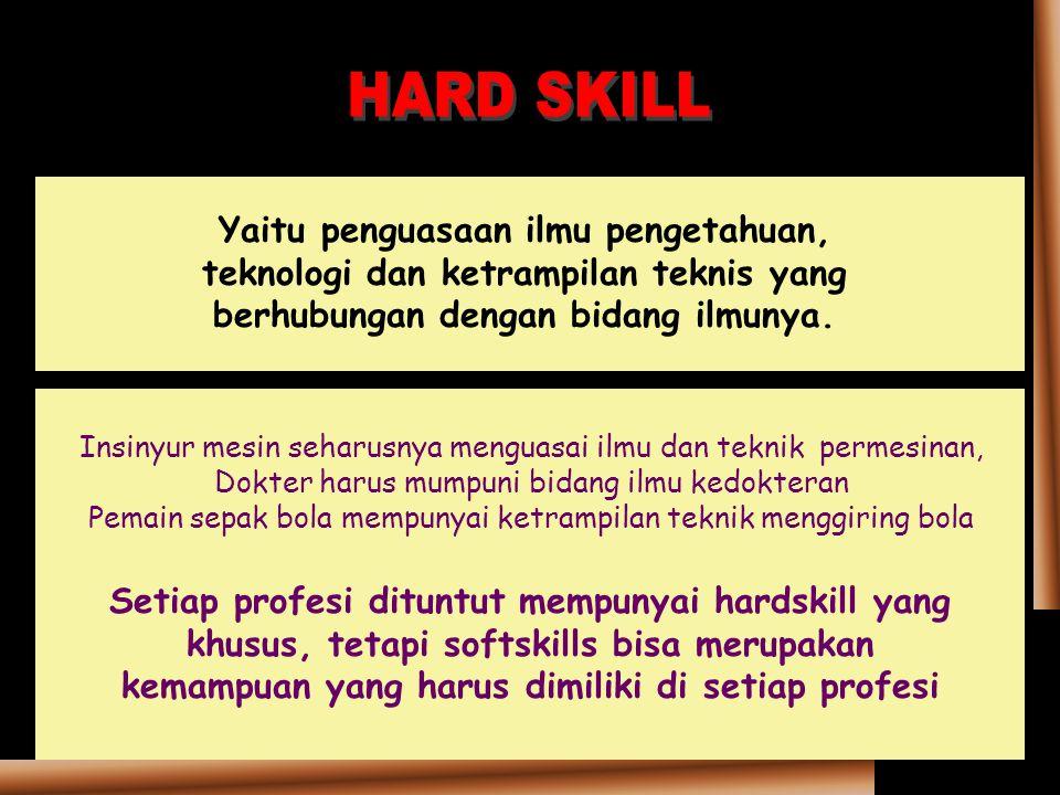 HARD SKILL Yaitu penguasaan ilmu pengetahuan, teknologi dan ketrampilan teknis yang berhubungan dengan bidang ilmunya.