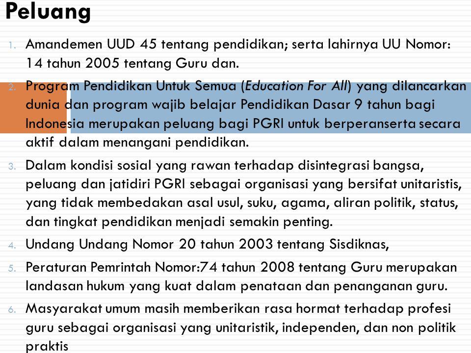 Peluang Amandemen UUD 45 tentang pendidikan; serta lahirnya UU Nomor: 14 tahun 2005 tentang Guru dan.