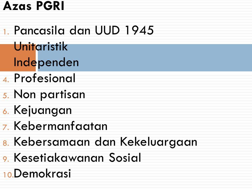 Azas PGRI Pancasila dan UUD 1945. Unitaristik. Independen. Profesional. Non partisan. Kejuangan.