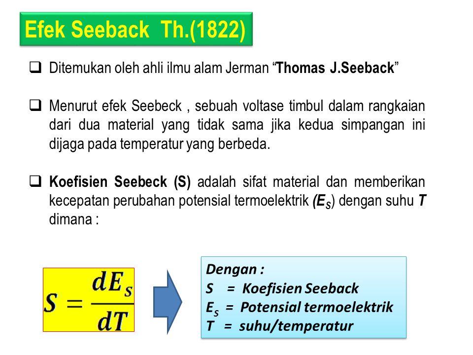 Efek Seeback Th.(1822) Ditemukan oleh ahli ilmu alam Jerman Thomas J.Seeback