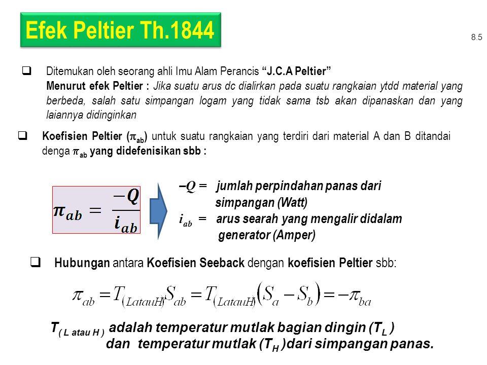 Efek Peltier Th.1844 –Q = jumlah perpindahan panas dari