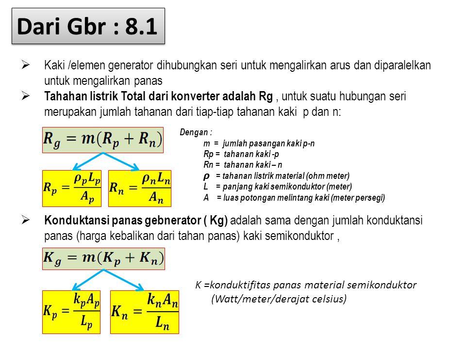 Dari Gbr : 8.1 Kaki /elemen generator dihubungkan seri untuk mengalirkan arus dan diparalelkan untuk mengalirkan panas.