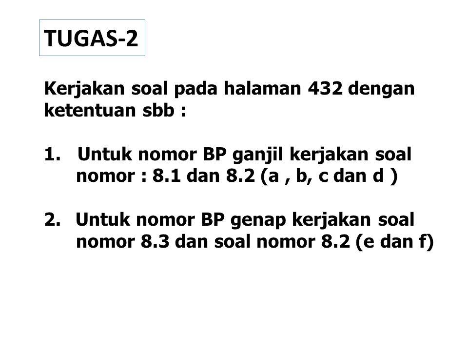 TUGAS-2 Kerjakan soal pada halaman 432 dengan ketentuan sbb :