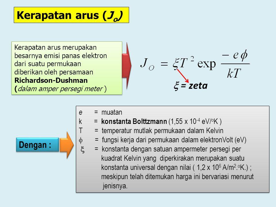 Kerapatan arus (Jo)  = zeta Dengan : e = muatan