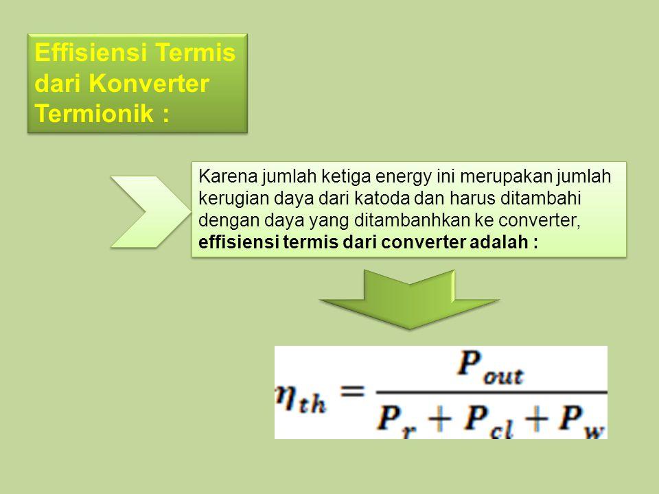 Effisiensi Termis dari Konverter Termionik :