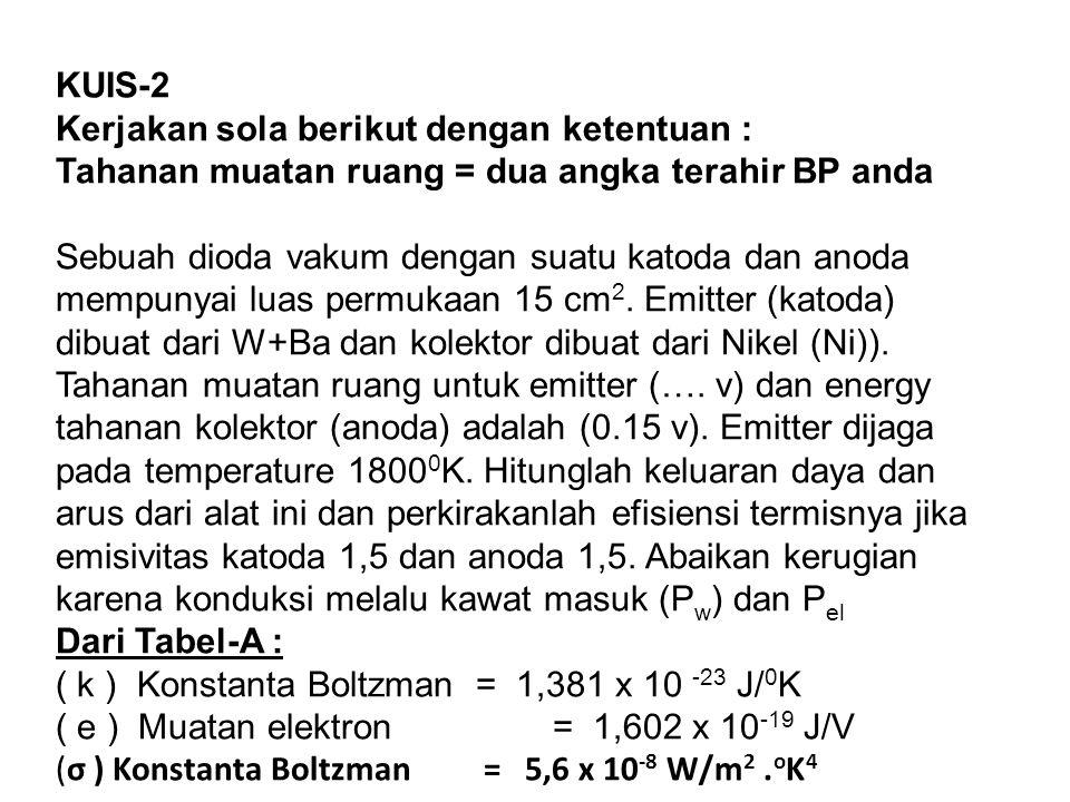 KUIS-2 Kerjakan sola berikut dengan ketentuan : Tahanan muatan ruang = dua angka terahir BP anda.