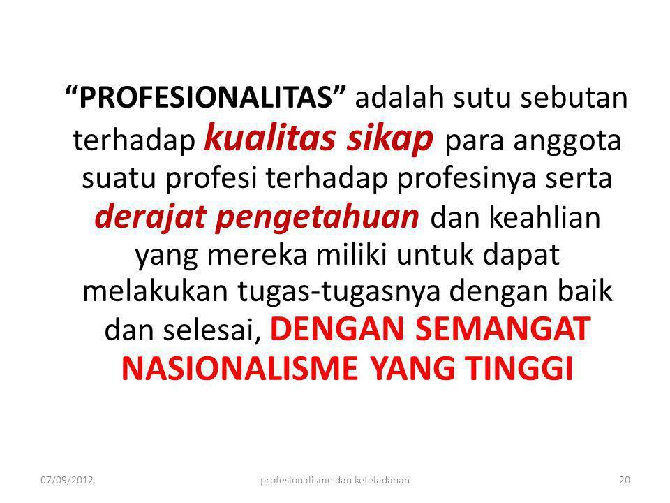 profesionalisme dan keteladanan