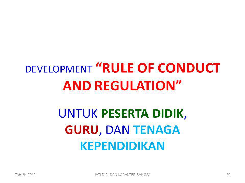 DEVELOPMENT RULE OF CONDUCT AND REGULATION