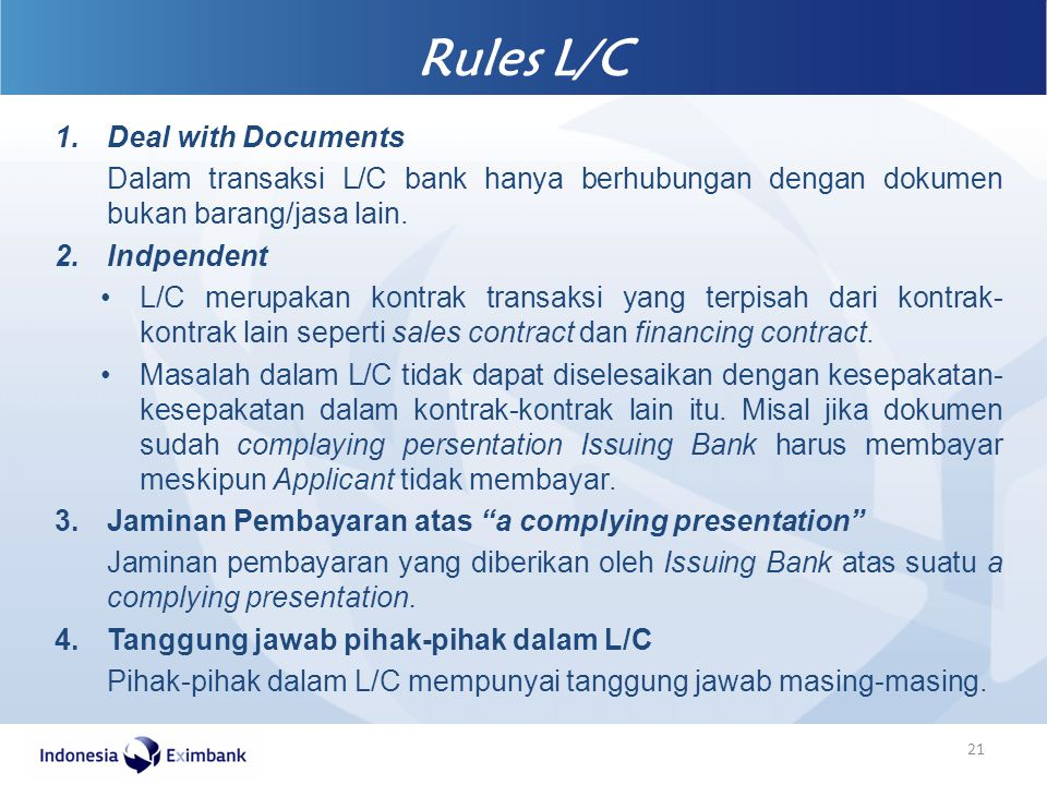 Rules L/C Deal with Documents