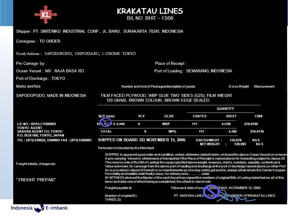 KRAKATAU LINES KL B/L NO. BHIT – 13/06