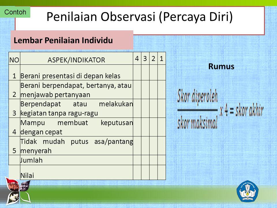 Penilaian Observasi (Percaya Diri)