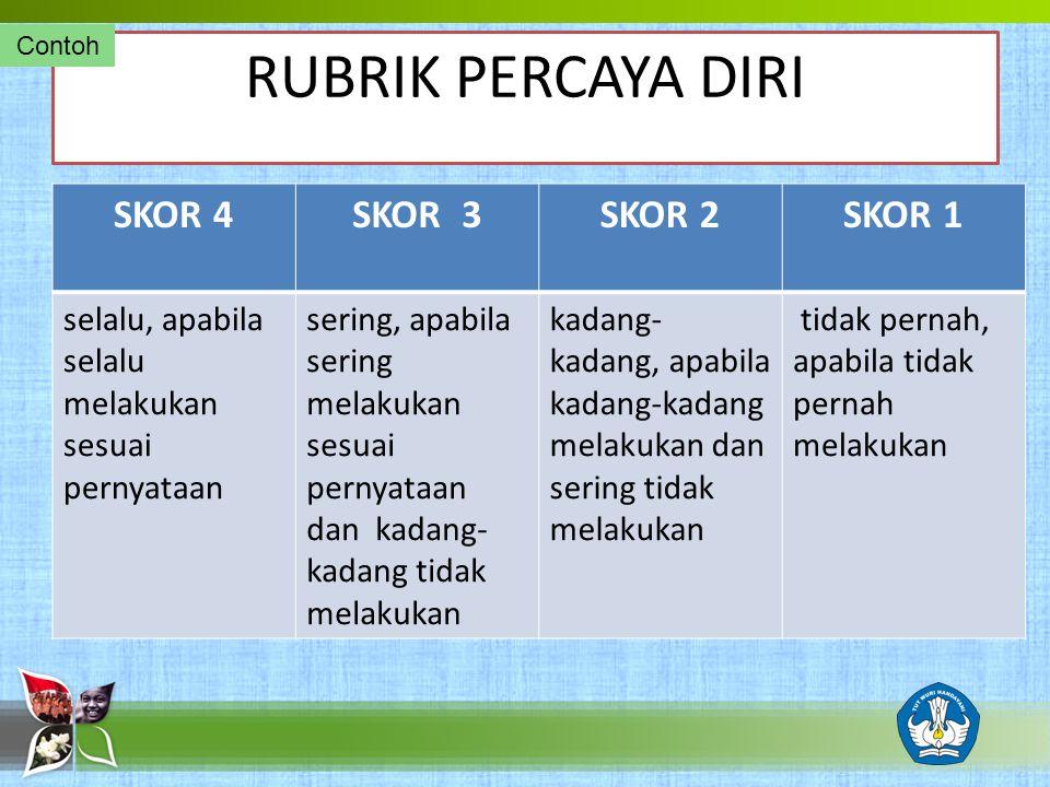 RUBRIK PERCAYA DIRI SKOR 4 SKOR 3 SKOR 2 SKOR 1