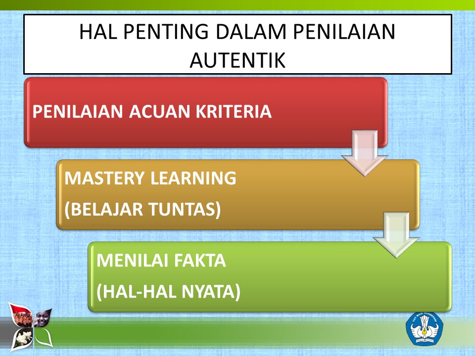 HAL PENTING DALAM PENILAIAN AUTENTIK