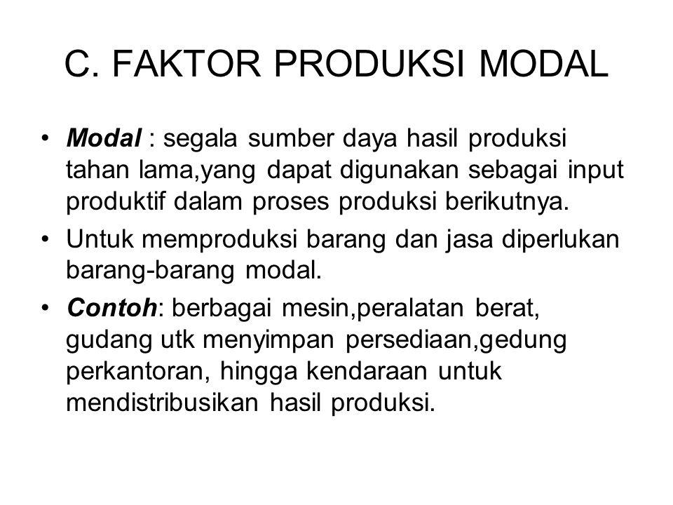 C. FAKTOR PRODUKSI MODAL