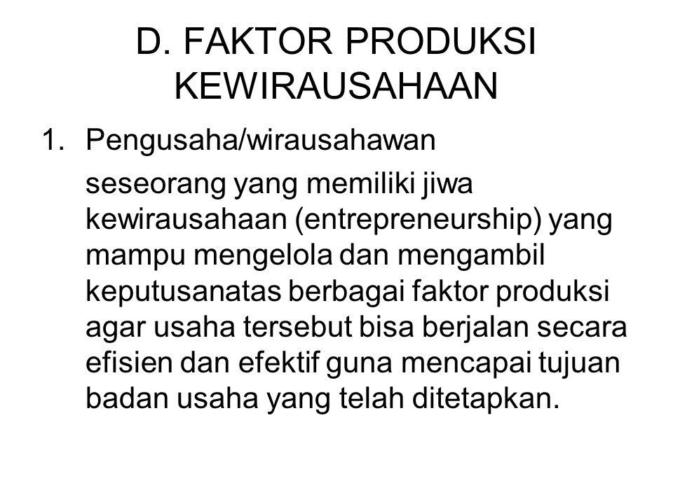 D. FAKTOR PRODUKSI KEWIRAUSAHAAN