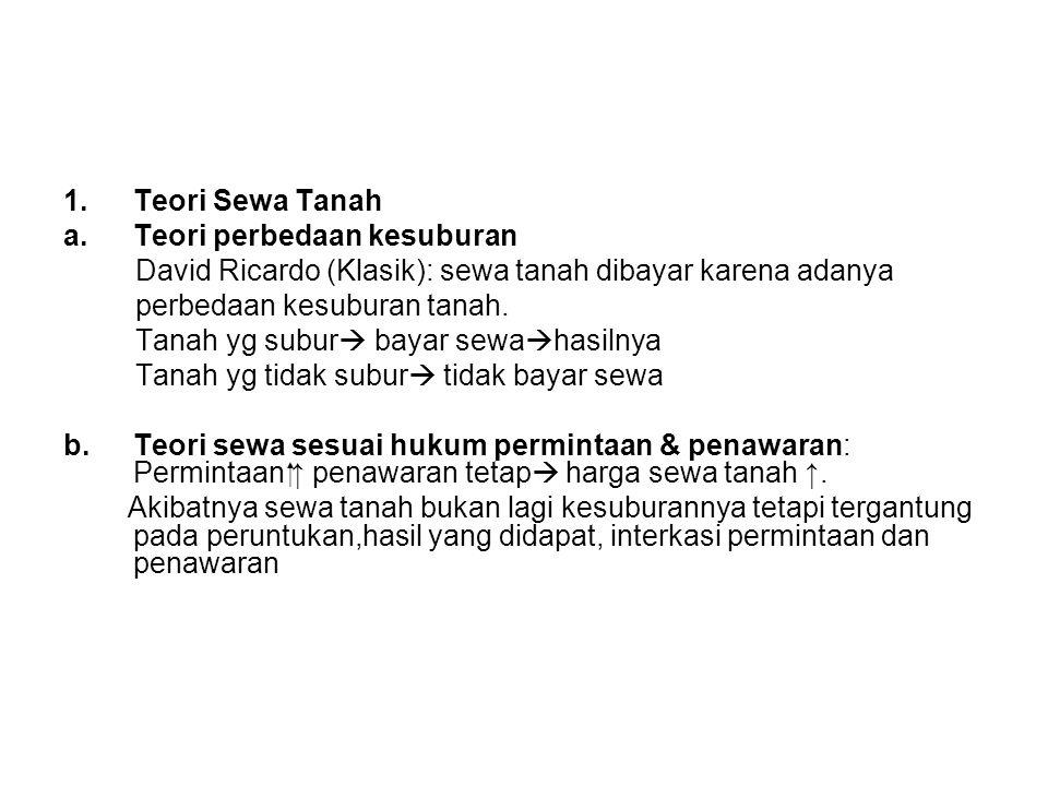 Teori Sewa Tanah Teori perbedaan kesuburan. David Ricardo (Klasik): sewa tanah dibayar karena adanya.