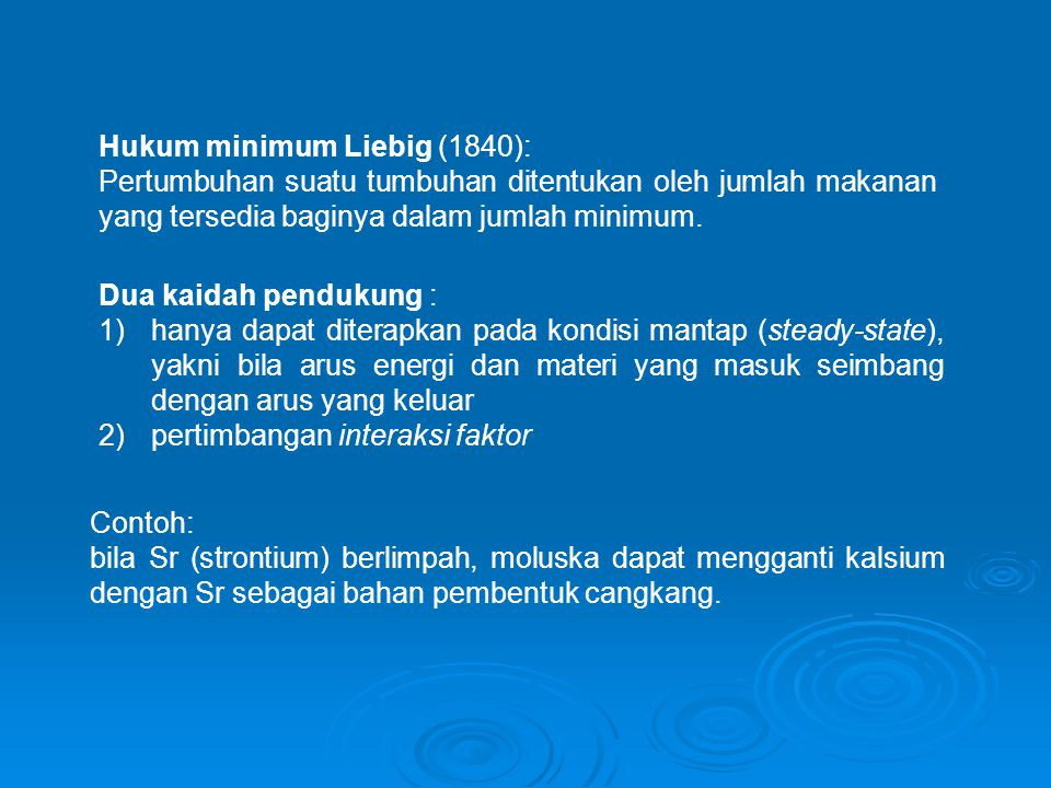 Hukum minimum Liebig (1840):