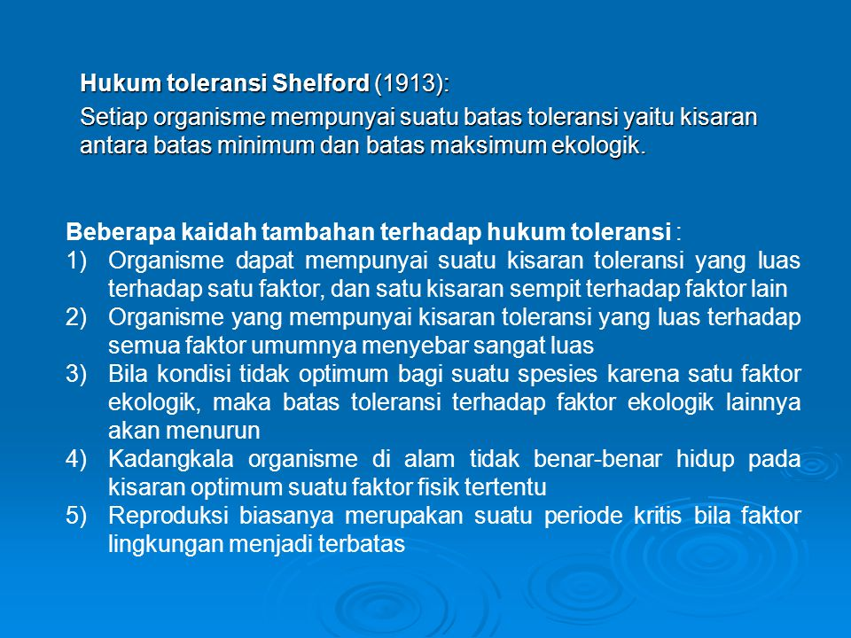 Hukum toleransi Shelford (1913):