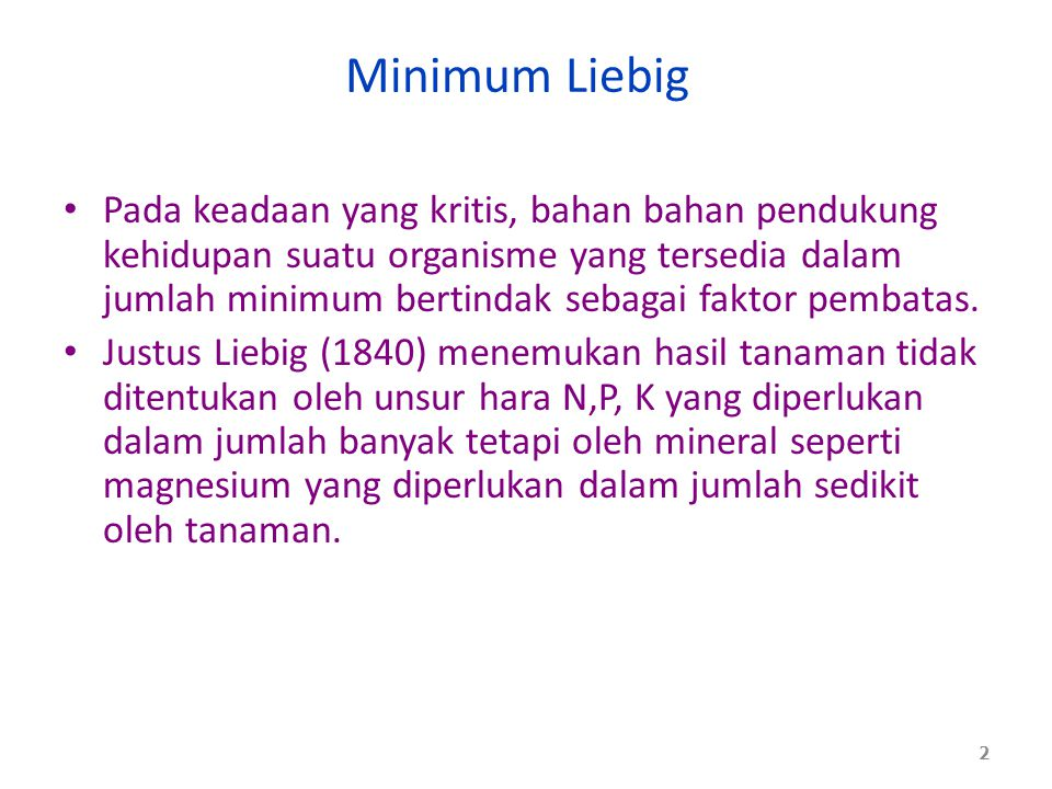 Minimum Liebig