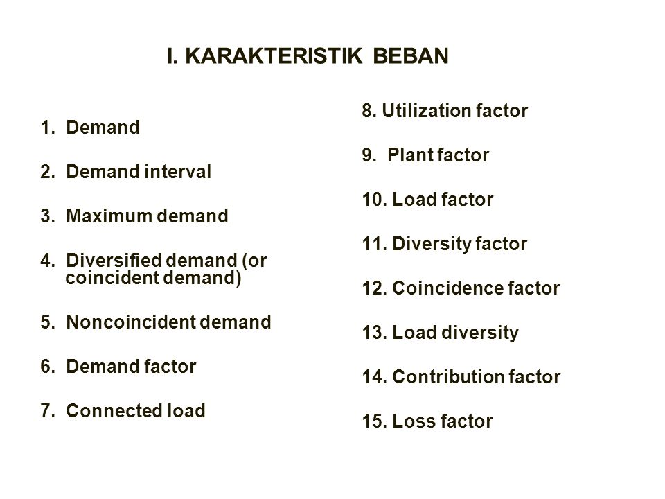 I. KARAKTERISTIK BEBAN 8. Utilization factor 1. Demand 9. Plant factor
