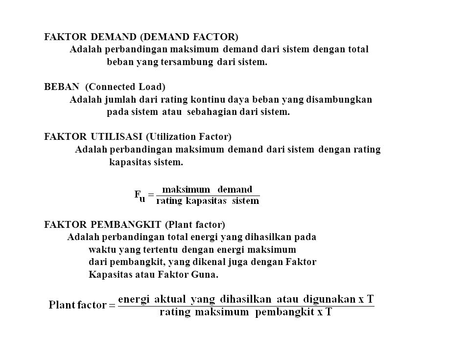 FAKTOR DEMAND (DEMAND FACTOR)