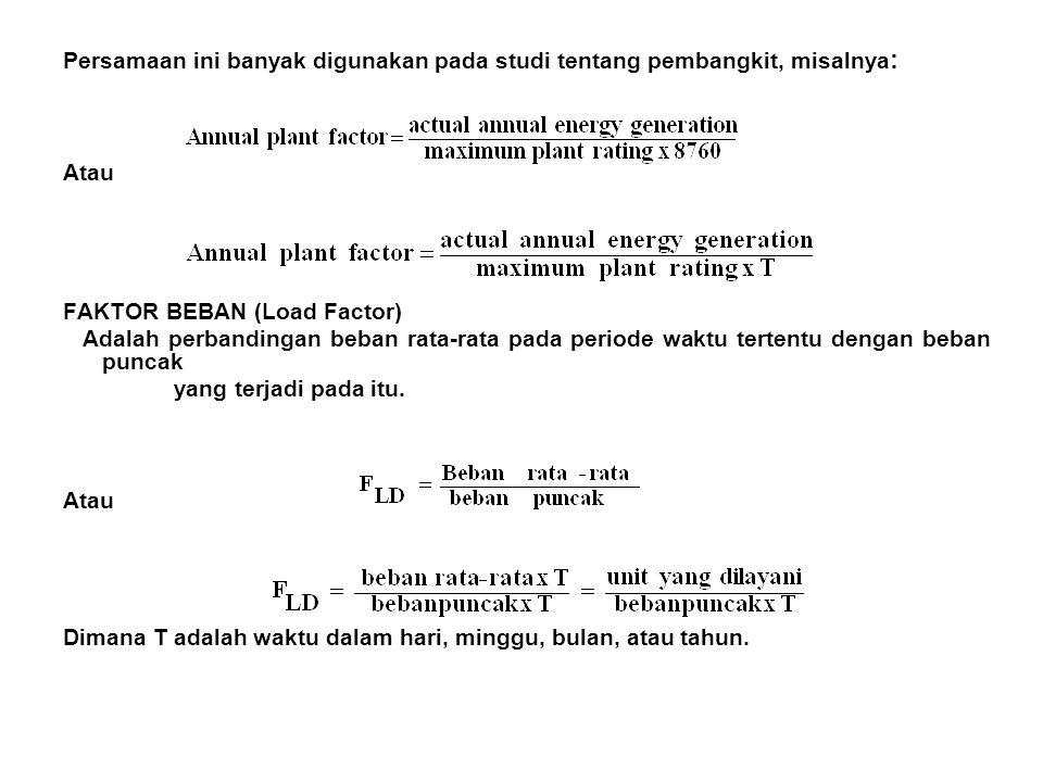 Persamaan ini banyak digunakan pada studi tentang pembangkit, misalnya: