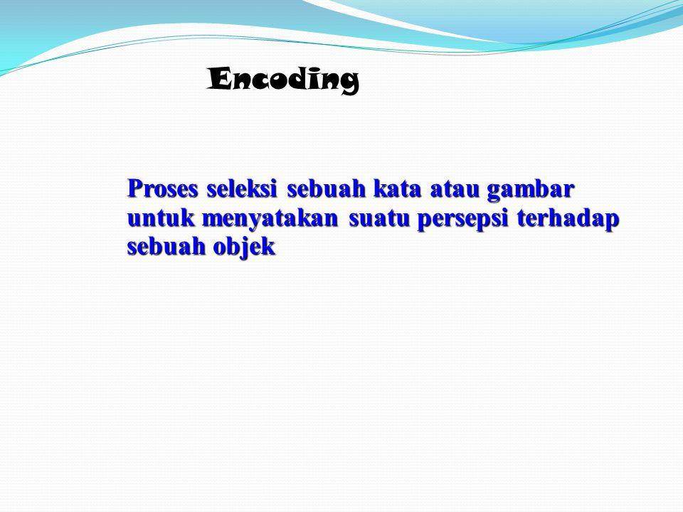 Encoding Proses seleksi sebuah kata atau gambar untuk menyatakan suatu persepsi terhadap sebuah objek.