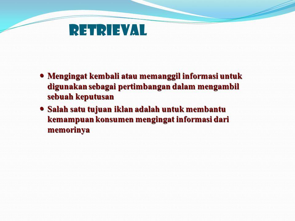Retrieval Mengingat kembali atau memanggil informasi untuk digunakan sebagai pertimbangan dalam mengambil sebuah keputusan.