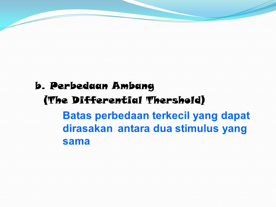 (The Differential Thershold)
