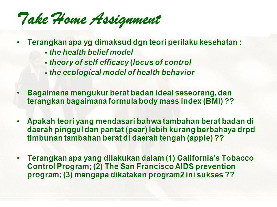 Take Home Assignment Terangkan apa yg dimaksud dgn teori perilaku kesehatan : - the health belief model.