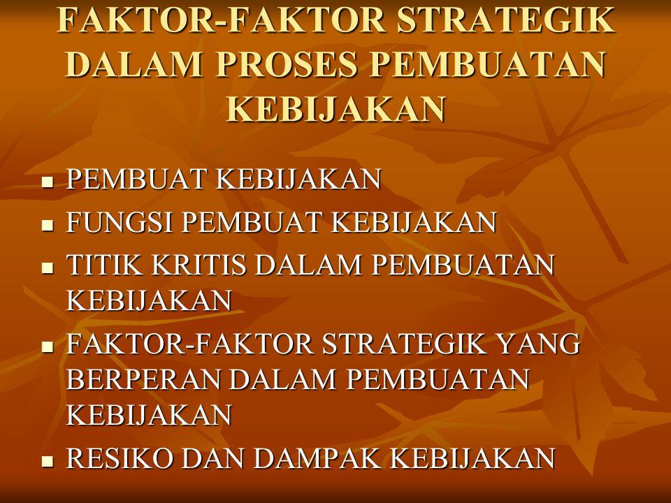 FAKTOR-FAKTOR STRATEGIK DALAM PROSES PEMBUATAN KEBIJAKAN